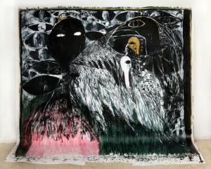 Khen Shish, 2014, acrylic on paper,410x420 cm