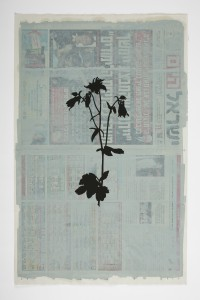 Larry Abramson, Das kleine Blumenbuch - after Rudolf Koch (Akelei), 2014, oil and screen-print on newspaper, 56x37 cm